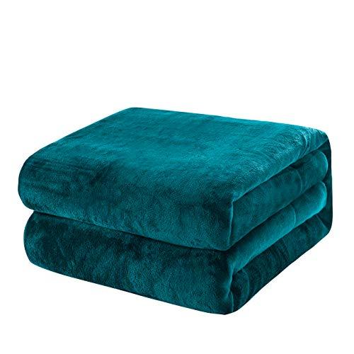 KEPLIN Flanell-Decke, Überwurf, große Tagesdecke (130 x 150 cm) – weich, flauschig, warm, Mikrofaser-Stoff-Design, Bettbezug (Blaugrün, Einzelbett)