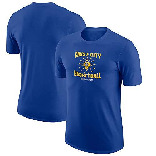 BMSD Camiseta NBA Pacers Azul Jersey Hombre Cuello Redondo Casual Baloncesto Manga Corta, M