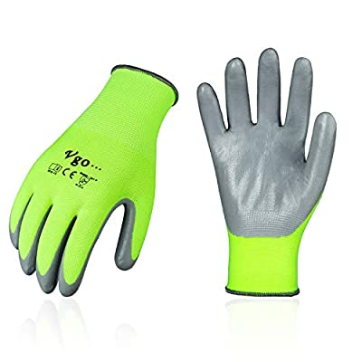 Vgo 10Pairs Nitrile Coating Gardening and Work Gloves (Size XL, Hi-vis Green, NT2110)