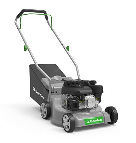 Q Garden QG39-130 4 Wheel Petrol Rotary Lawnmower with 3 Cutting Heights, 39cm Cutting Width and 35L Collection Bag - 1 Year Guarantee