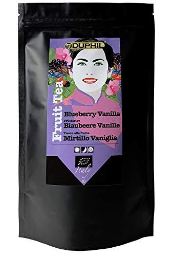 Duphil | Bio Früchtetee Blaubeere mit echten Vanillestückchen Früchteteemischung ohne Koffein lose beste Bio-Qualität im Aromabeutel mit Zippverschluss | 200g