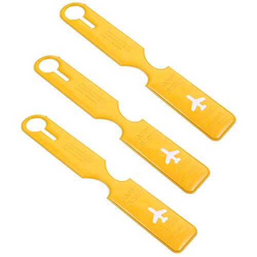 SOIMISS 3 Stück PVC-Gepäckanhänger Anti-Lost-Reisetasche Identifizieren Etiketten für Flughafengepäck Outdoor DIY Koffer Name Etikett Zubehör (Gelb)