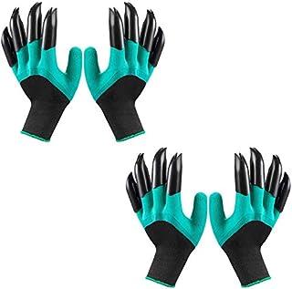 دستکش های Garden Genie with Claws (2019 Upgrade) ، دستکش های ضد آب و تنفس مخصوص باغچه برای کاشت کاشت ، بهترین هدایای باغبانی برای زنان و مردان (جفت پنجه سبز 2 جفت)
