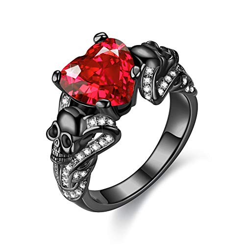 FLIUAOL Gothic Jewelry Purple Red Black Crystal Unique Black Skull Rings for Women (Red, 10)