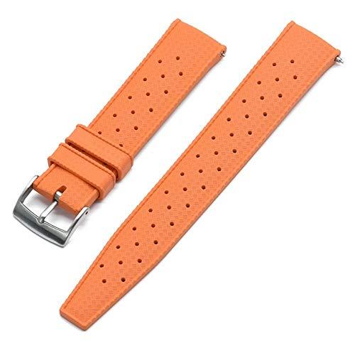 Correa de Reloj de Goma de Grado Premium 20 mm 22 mm Reloj de Reloj Buceo Buceo Impermeable Pulsera Color Negro Correa Reloj (Band Color : Orange New, Band Width : 20mm)