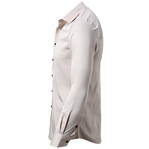 INFLATION Mens Dress Shirts Bamboo Fiber Slim Fit Long Sleeve Casual Button Down Shirts Wrinkle Free Dress Shirts for Men Cream