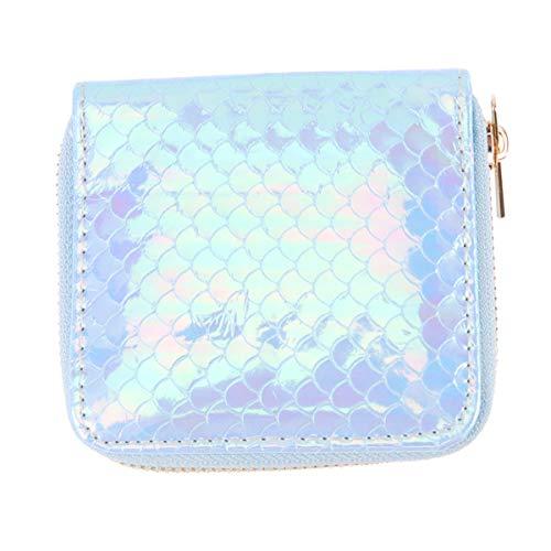 Monedero holográfico para niña y mujer Sparkle bolsas para la conservación de la sirena azul cambio porta tarjetas llave monedero con cremallera cartera pequeña, turquesa (Azul) - N3SDL7CR1191Z940XR7U