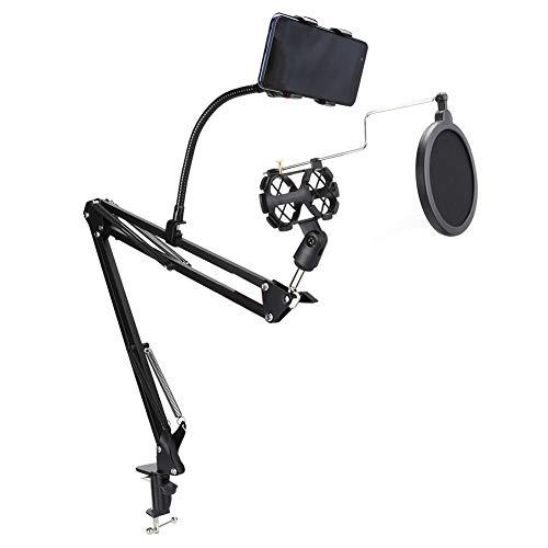 Soporte de micrófono con brazo de suspensión para micrófono, utilizado para soporte de abrazadera de micrófono, abrazadera de montaje de banco de trabajo, cubierta de escape