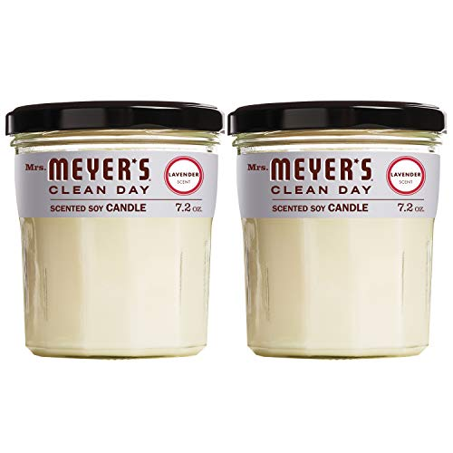 Mrs. Meyer's Clean Day Scented Soy Aromatherapy Candle, 35 Hour Burn Time, Made with Soy Wax and Essential Oils, Lavender, 7.2 oz - Pack of 2