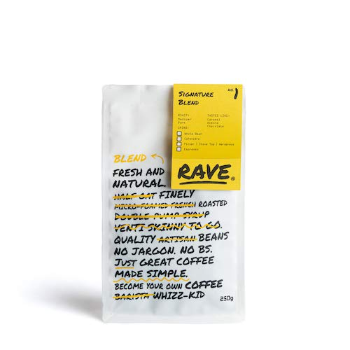 Rave Coffee - Signature Blend - Espresso Grind Freshly Roasted and Ground 250g