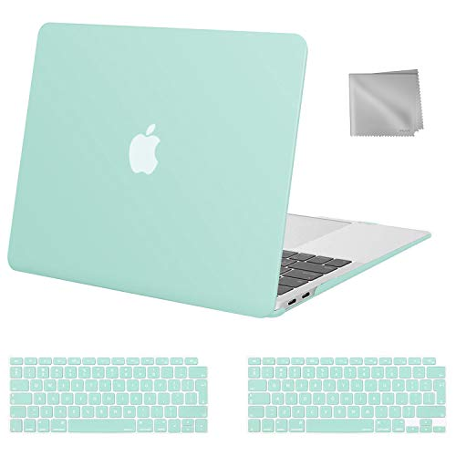MOSISO MacBook Air 13 inch Case 2020 2019 2018 Release A2337 M1 A2179 A1932, Plastic Hard Shell Case&Keyboard Cover&Wipe Cloth Compatible with MacBook Air 13 inch with Retina Display, Mint Green