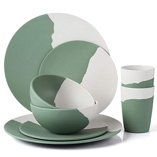 Juego de vajilla de bambú MORGIANA 8 piezas, juegos de vajilla ecológicos con platos y tazas para picnic/camping/barbacoa/fiesta/boda (Verde y blanco)