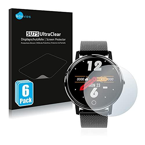 savvies Protector Pantalla Compatible con Holalei Fitness Tracker 1.3' (6 Unidades) Película Ultra Transparente