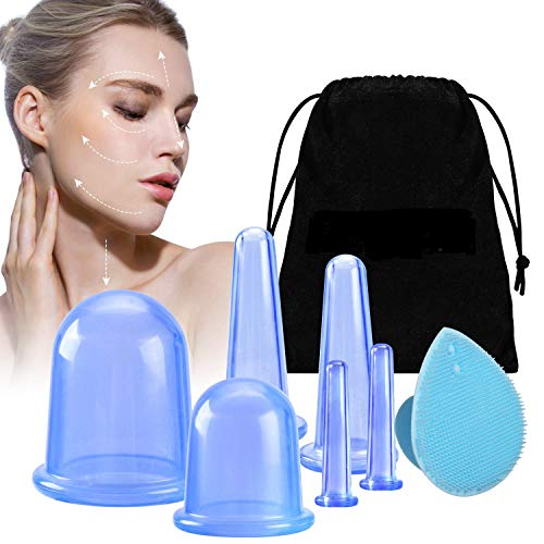 Complete Cupping Therapy Set, Anti Cellulite Cups with Body Cups, Face Cupping, Eye Cups, and Exfoliating Silicone face Brush, Release Fascia, Lymphatic Drainage or Natural Pain Relief (Blue)