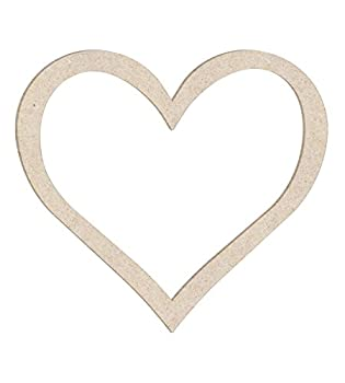 18  Open Heart Outline Unfinished Wood Cutout Shape