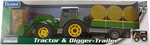 Vert Tracteur Métalliques et Excavateur avec Caravane de Balle Règlent 1:32 Echelle