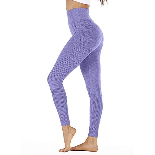 BBring Sporthose Damen Einfarbig L Lila 370457 (sportkleidung Strumpfhose lauftight sportleggins Stoffhosen Pants Freizeithosen Pilates Hosen Yoga Bekleidung Kleidung Gamaschen)