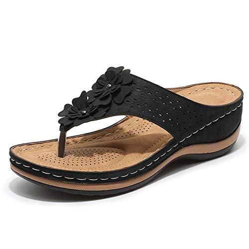 Sandalias de Cuña Estilo Tanga para Mujer, Chanclas Informales Cómodas de Espuma Viscoelástica, Viajes a Pie por La Playa, Regalos para Ella, Tamaño (36-43),Negro,37