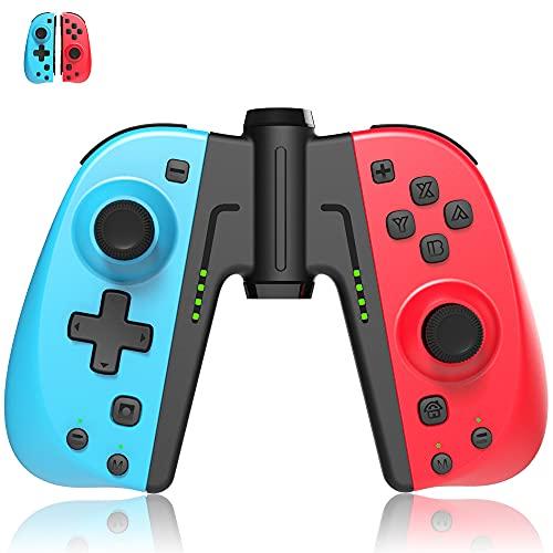 Mandos Inalámbrico para Switch, Mando Switch Bluetooth Controlador Joystick Remote con Macros programables,soporte turbo 6 ejes gyro doble vibración(rojo y azul)