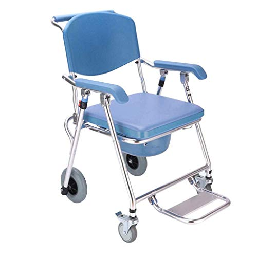 N/Z Daily Equipment Shower Chair Bathroom Bench Wheeled Toilet Seat Elderly Toilet Wheelchair Mobile Toilet Seat Folding Toilet Pregnant Woman Bath Chair