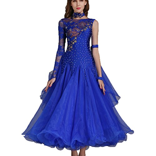 Rongg Vestidos de Danza Moderna Disfraz de Práctica para Mujeres Collar Oblicuo Encaje Hueco Vals Vestidos de Baile de Salón Sin Mangas, Blue, XXL