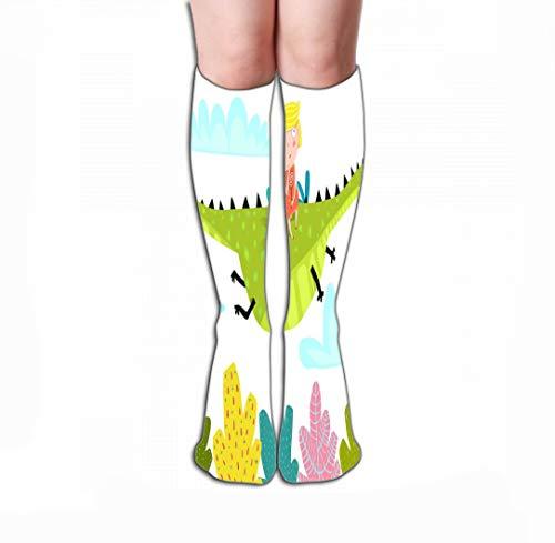 GHEDPO Hohe Socken Women's Men's Cool Colorful Casual Socks Casual Cotton Crew Socks Gift 19.7