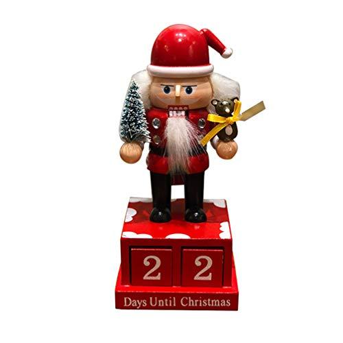 EXCEART Wooden Christmas Nutcracker Countdown Calendar Nutcracker Ornament Mini Soldier Figurines Santa Claus Desktop Timer for Xmas Gift Festive Holiday Decor (Red)