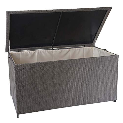 Mendler Poly-Rattan Kissenbox HWC-D88, Gartentruhe Auflagenbox Truhe ~ Premium grau, 80x160x94cm 950l