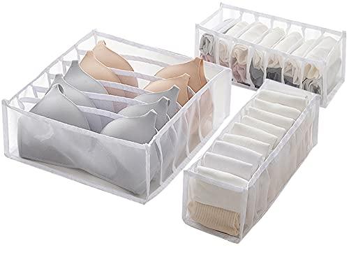 Caja de Almacenamiento de Ropa Interior con Cajón de 3 Piezas XPOOS, Caja de Almacenamiento Plegable para Sujetadores, Calcetines, Bragas o Corbatas (blanco)