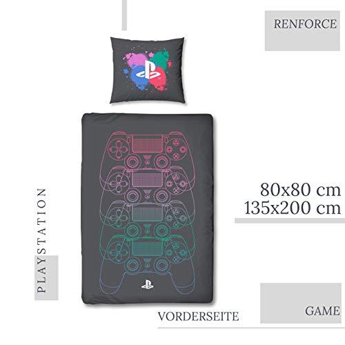 Character World Bettwäsche Playstation 135x200 + 80x80 deutsche Größe · Playstation Konsole · 100% Baumwolle · 2 teilig Teenager Jungen-Bettwäsche