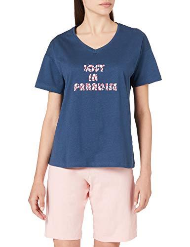 Schiesser Damen Schlafanzug kurz 1/2 Arm Oberteil und Bermuda Hose Pyjamaset, Petrol, 36
