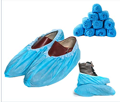 Blue Shoe Guys Disposable Waterproof Boot & Shoe Covers, 100 Pack (50 Pairs) | Non Slip Foot Booties, Indoor/Outdoor, Protects Carpets/Floors | Stretchable One Size Fits Most - upto US Men 12 Women 14