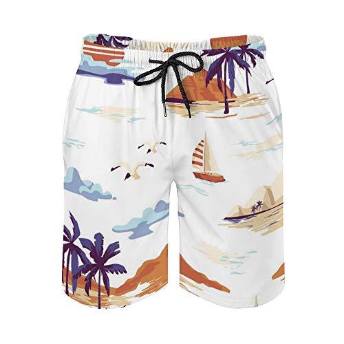 MayBlosom Pantalones cortos de playa para hombre, diseño de isla vintage, paisaje de secado rápido, traje de baño casual hawaiano, trajes de baño con elástico