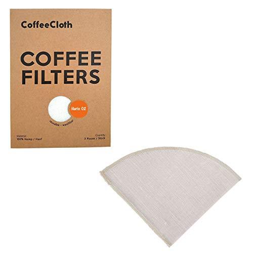 Earthtopia 3er Set wiederverwendbare Kaffeefilter aus Stoff | 100% Hanf | Permanentfilter Mehrwegfilter Dauerfilter Filtertüten (3 Stück, passend für Hario V60 02)