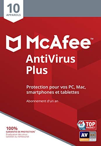 McAfee AntiVirus 2020| 10 Appareils | 1 An | PC/Mac/Android/Smartphones | Code d'activation - envoi par la poste