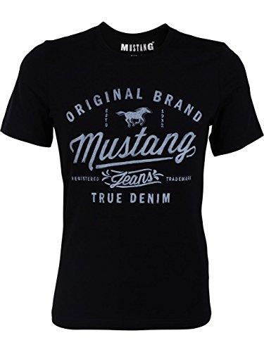 MUSTANG Herren T-Shirt mit Frontprint, Größe: XL, Ausführung: Original Brand (Black)