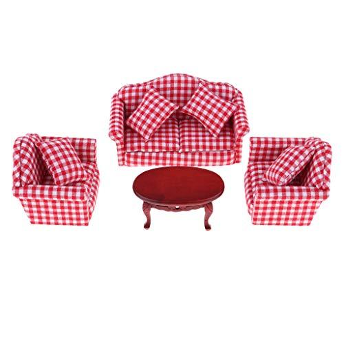 1/12 Dollhouse Miniature Furniture Decor Plaid Sofa Couch Oval Tea Table