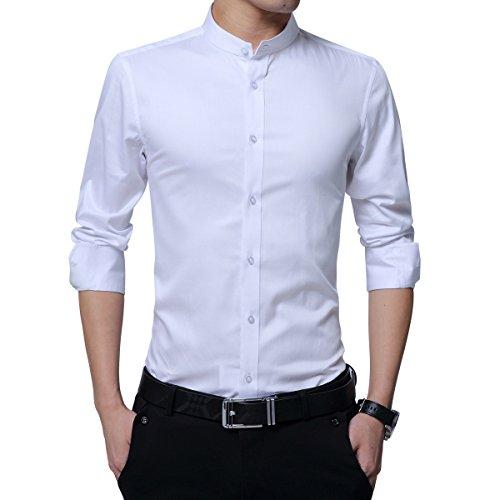 Sliktaa Hommes Chemises Mince Repassage Facile Manches Longues Formelles Basic Business Loisirs Mariage Tuxedo Chemises 3 Couleurs, Blanc, XL
