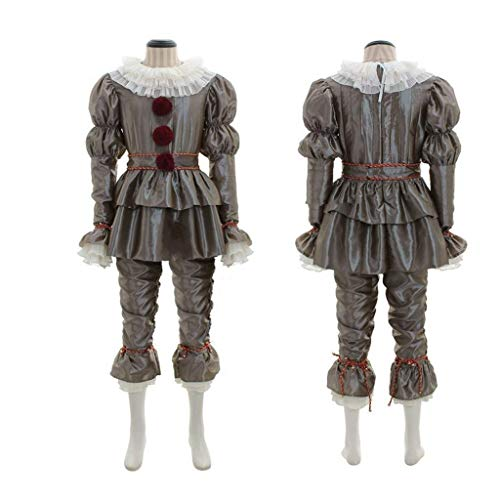 ZKKK Payaso Disfraces de Halloween Stephen King'S It Pennywise Cosplay Incluyendo Tops, Pantalones, Cinturones, Baberos, Pulseras * 2, Tobilleras * 2,Men,M