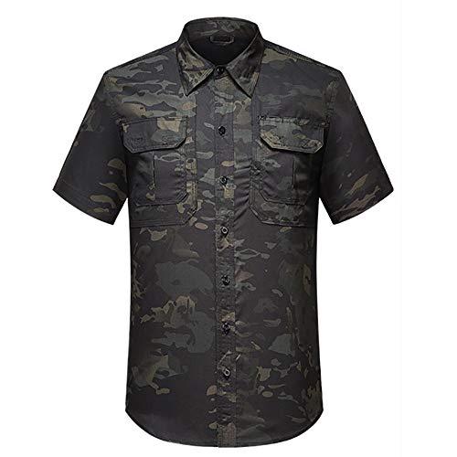 Noga Revers Chemise de Travail Tactique Camouflage Combinaison de Chasse à Manches Courtes Tenue de navettage Camping Respirant Résistant à l'us