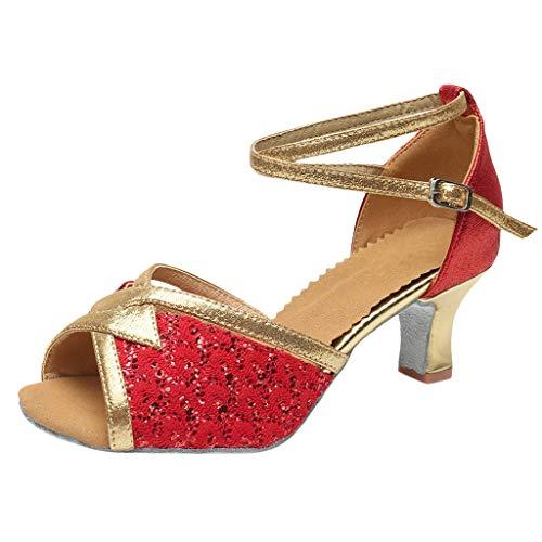 Lenfesh damskie buty do tańca Latin Taniec w standardowej sali balowej, do wnętrz Samba/nowoczesne/Jazz Rumba Waltz Prom Ballroom Latin Dance Shoes, wielokolorowa - czerwony - 38 EU