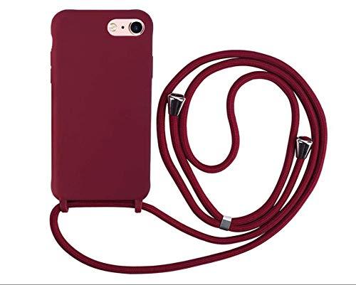 MEIVS Funda Compatible con iPhone 6/6S/7/8 Plus{5,5}, Ajustable Collar Correa de Cuello CordónCarcasa de Silicona- Rojo