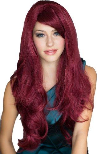 Annabelle de perruques perruque rouge extra longue, avec un côté et antiadhérent Big Courroie Boucles : Peggy Soo 250 g