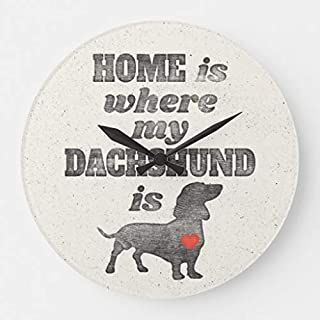Home is Where My Dachshund is Wood Clock Wall Decorative Small 10 inches Silent Non-Ticking Wooden Clock