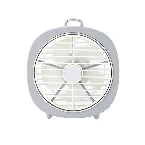 Yosemite Ventilador de escritorio pequeño potente pequeño ventilador de refrigeración USB giratorio cubierta LED noche luz oficina hogar refrigerador de aire - blanco