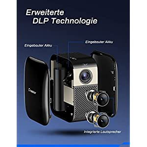 Crosstour Mini Beamer, Full HD DLP Taschen Video Projektor mit 3000 mAh akku Unterstützt Heimkino Projector für HDMI/Laptop/iOS/Android