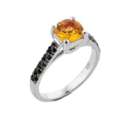 Pequeños Tesoros - Anillos Damas 10 KT Oro Blanco 471/1000 Citrine con Negro Diamante Solitaria