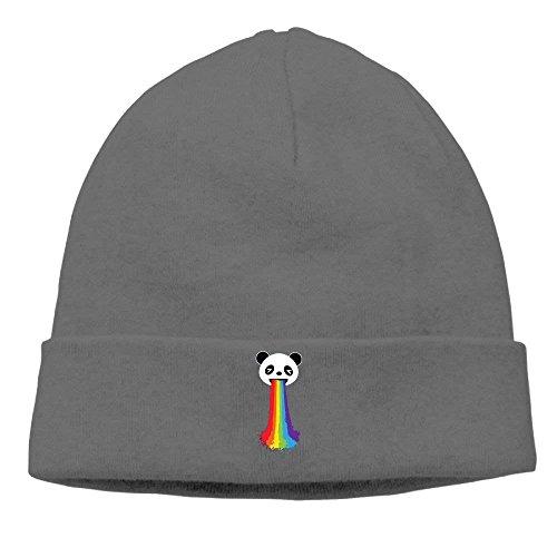 Mujer Panda vomitando Rainbow Knit Gorro Diario elástico Gorro cálido Estampado de Punto Gorro de Calavera Gorro de esquí (Talla única)