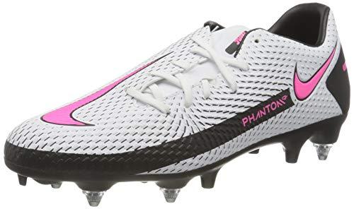 Nike Unisex Phantom GT Academy SG-PRO Anti-Clog Soccer Shoe, White/Pink Blast-Black-Black, 41 EU