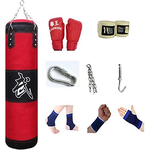 ZWJ Colgando Bolsa de perforación Colgada de Accesorios de Ocho Piezas Conjunto de sandbag Kickboxing Muay Thai Home Gym Equipo de Gimnasio de Alto Grado Oxford Canvas Sponge Red 60-120cm
